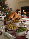 Roast Turkey Christmas Spread Stock Photography