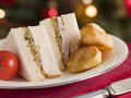 Roast Turkey Stuffing and Mayonnaise Sandwich Stock Images