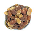Roasted almond halves dish top looking down at a of Stock Images