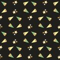 Roasted almond nuts in gingham bags vector seamless pattern background. Confectionery, festive trees, gold stars black