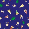 Roasted almond nuts in gingham paper bags vector seamless pattern background. Golden confectionery, festive trees, stars