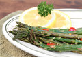 Roasted asparagus, macro with selective focus. Royalty Free Stock Photography