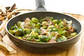Roasted brussels sprouts and mushrooms Stock Photos