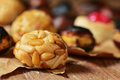 Roasted chestnuts and panellets, typical snack in All Saints Day Royalty Free Stock Photo