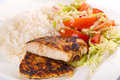 Roasted chicken breast salad rice Royalty Free Stock Photos