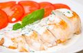 Roasted chicken breast with sauce on plate Royalty Free Stock Images