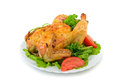 Roasted chicken with herbs and vegetables Stock Image
