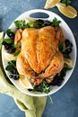 Roasted chicken for holiday or sunday dinner Royalty Free Stock Photo