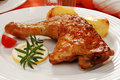 Roasted chicken leg Royalty Free Stock Photos