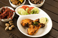 Roasted chicken with salad indian food Royalty Free Stock Image