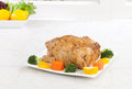 Roasted chicken served with vegetable Royalty Free Stock Photo