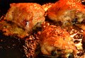 Roasted chicken thighs in the oven with honey Royalty Free Stock Image
