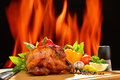 Roasted chicken and various vegetables Royalty Free Stock Photo
