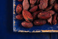 Roasted cocoa chocolate beans on dark blue wood background Royalty Free Stock Photos