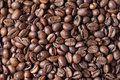 Roasted coffee beans background full frame shot from above of Royalty Free Stock Images