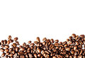 Roasted coffee beans background texture isolated on white backgr frame with copy space for text macro Royalty Free Stock Image