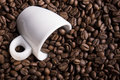 Roasted coffee beans an espresso cup with Royalty Free Stock Image