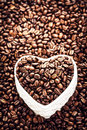 Roasted coffee beans in a heart shaped bowl at valentine day ho white with copy space for greeting text shape of Royalty Free Stock Images