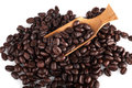 roasted coffee beans on white Royalty Free Stock Photo