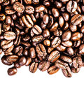 Roasted coffee macro background arabica coffee beans background texture isolated on white frame with copy space for Royalty Free Stock Photos