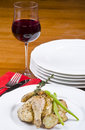 Roasted Cornish Game Hen Served with Red Wine Royalty Free Stock Images