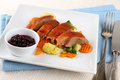 Roasted duck breast with vegetables wild blueberries top view Royalty Free Stock Photos