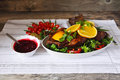 Roasted duck with orange berry sauce vegetables and bread on a wood table Royalty Free Stock Images