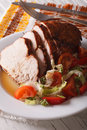 Roasted fillet of turkey and fresh vegetables close-up. vertical Royalty Free Stock Photo