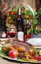 Roasted goose in autumn setting Royalty Free Stock Photo