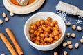 Roasted honey cinnamon chickpeas Royalty Free Stock Photo