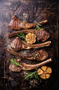 Roasted lamb ribs with garlic spices and on dark steel background Royalty Free Stock Photos