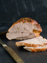 Roasted meat lamb or pork with thyme selective focus Royalty Free Stock Image