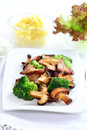 Roasted pork meat with shiitake mushrooms Royalty Free Stock Image
