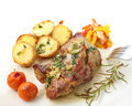 Roasted pork with potatoes isolated on white top Royalty Free Stock Photo