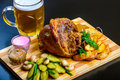 Roasted pork shank with beer