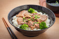 Roasted pork with stir fried broccoli and japanese rice in bowl, Royalty Free Stock Photo