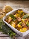 Roasted potatoes with tuna Royalty Free Stock Photos