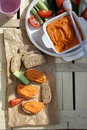 Roasted red pepper hummus Royalty Free Stock Photo
