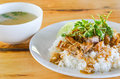Roasted red pork with sweet gravy and rice Stock Photo
