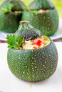 Roasted round courgette stuffed rice and vegetables Royalty Free Stock Images