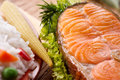 Roasted salmon steak with vegetables still life Stock Photography