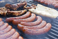 Roasted sausages at a street vendor Royalty Free Stock Photos