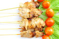 Roasted skewered pork Stock Photo