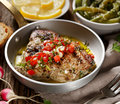 Roasted tuna steak with the addition of tomato salsa Royalty Free Stock Photo
