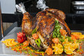 Roasted turkey at a restaurant buffet carvery Royalty Free Stock Photo