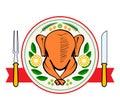 Roasted turkey symbol vector illustration