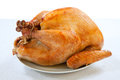 Roasted Turkey on white Royalty Free Stock Photo
