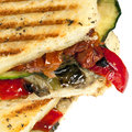 Roasted vegetable focaccia or panini Stock Photos