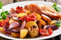 Roasted vegetables with chicken meat Royalty Free Stock Photo