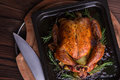 Roasted whole chicken / turkey for celebration and holiday. Christmas, thanksgiving, new year's eve dinner Royalty Free Stock Photo
